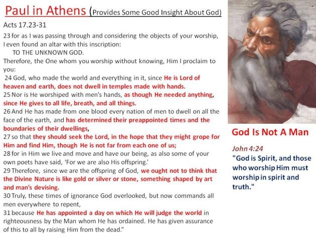 god is not a man -paul speaks to athenians